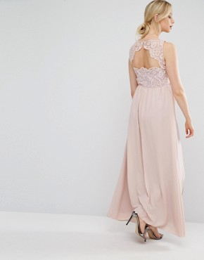 photo Sweetheart Lace Bodice Maxi Dress by Chi Chi London Maternity, color Pink - Image 2