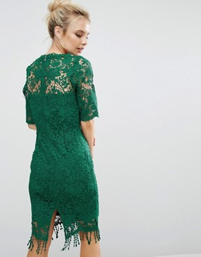 photo All Over Lace Dress with Contrast Lining and Tassel Hem by Paper Dolls Petite, color Emerald - Image 2