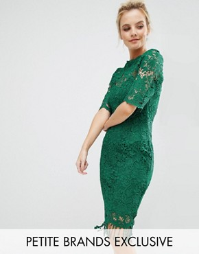 photo All Over Lace Dress with Contrast Lining and Tassel Hem by Paper Dolls Petite, color Emerald - Image 1