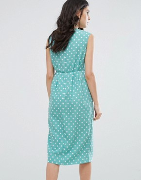 photo Textured Wrap Front Midi Dress by Darling, color Duck Egg - Image 2
