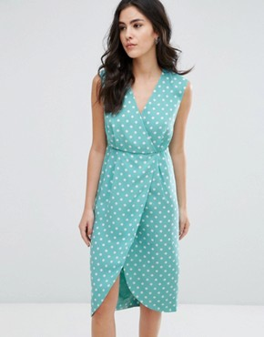 photo Textured Wrap Front Midi Dress by Darling, color Duck Egg - Image 1