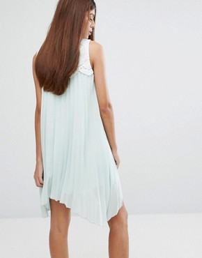 photo Hanky Hem Dress with Lace Detail by Darling, color Pale Mint - Image 2