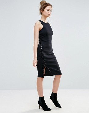 photo Warner Side Lace Up Fitted Dress by John & Jenn, color Black - Image 1