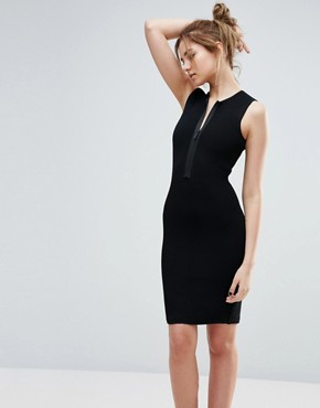 photo Spencer Ribbed Dress with Front Zip by John & Jenn, color Black - Image 1