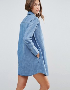 photo Denim Girlfriend Shirt Dress by ASOS Maternity, color Mid Stonewash - Image 2