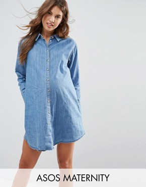 photo Denim Girlfriend Shirt Dress by ASOS Maternity, color Mid Stonewash - Image 1