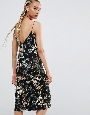 photo Floral Print Midi Cami Dress by Pull&Bear, color Black - Image 2