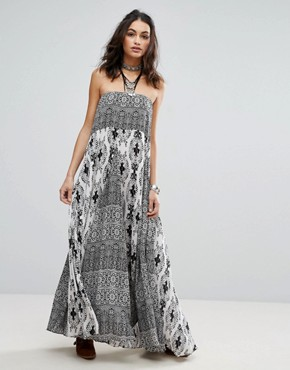 photo Woman Of The Water Bandeau Maxi Dress by Free People, color Black Combo - Image 1