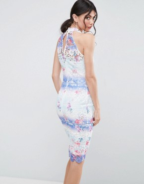 photo High Neck Ombre Lace Pencil Dress by Paper Dolls Tall, color Multi - Image 2