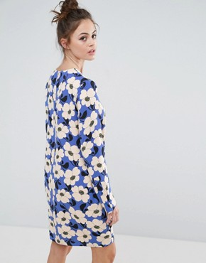 photo Shift Dress in Bold Floral Print by Sportmax Code, color Cornflower Blue - Image 2