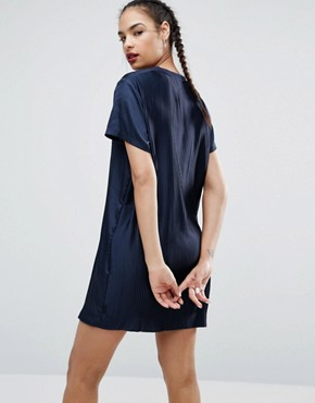 photo Adicolor Deluxe Dress with Pleated Back by Adidas Originals, color Blue - Image 2