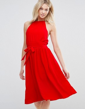 photo Arnie Tie Waist Dress by d.RA, color Poppy - Image 1