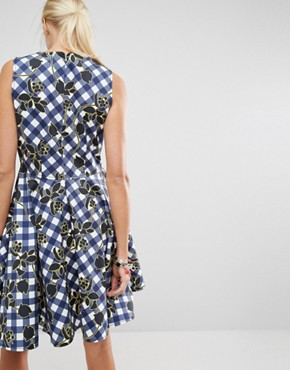 photo Charles Gingham Skater Dress by Sportmax Code, color Navy - Image 2