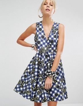 photo Charles Gingham Skater Dress by Sportmax Code, color Navy - Image 1