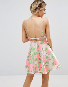 photo Floral Organza Pinny Mini Prom Dress by ASOS PETITE SALON, color Multi - Image 2