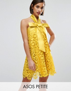 photo Aline Lace Mini Dress with Bow Detail by ASOS PETITE SALON, color Yellow - Image 1