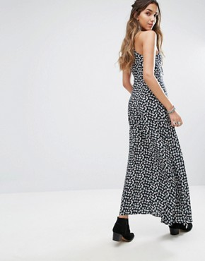 photo Cami Maxi Dress with Tie Front and Split in Grunge Floral by Kiss The Sky, color Navy - Image 2