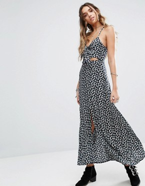 photo Cami Maxi Dress with Tie Front and Split in Grunge Floral by Kiss The Sky, color Navy - Image 1