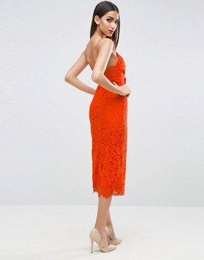 photo Lace Cami Bow Front Midi Pencil Dress by ASOS, color Orange - Image 2