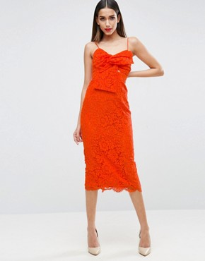 photo Lace Cami Bow Front Midi Pencil Dress by ASOS, color Orange - Image 1