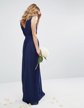 photo Wrap front Maxi Dress with Embellishment by TFNC WEDDING, color Navy - Image 2