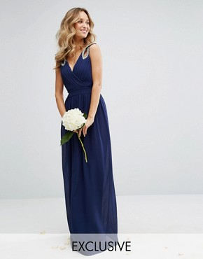 photo Wrap front Maxi Dress with Embellishment by TFNC WEDDING, color Navy - Image 1