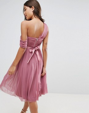 photo Mesh Ribbon One Shoulder Prom Midi Dress by ASOS, color Mauve - Image 2