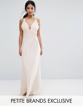 photo Fiited Ruched Maxi Dress with Floral Applique Detail by Little Mistress Petite, color Nude - Image 1