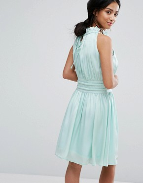 photo Ruched Pleated Mini Prom Skater Dress by Little Mistress Petite, color Mint - Image 2