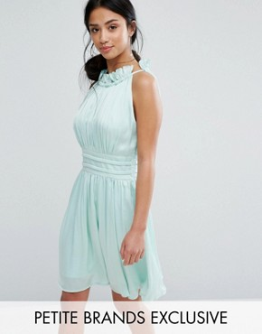 photo Ruched Pleated Mini Prom Skater Dress by Little Mistress Petite, color Mint - Image 1