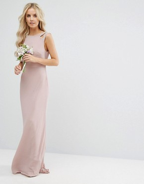photo High Neck Maxi Dress with Embellished Low Back by TFNC Petite WEDDING, color Mauve - Image 2