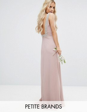 photo High Neck Maxi Dress with Embellished Low Back by TFNC Petite WEDDING, color Mauve - Image 1