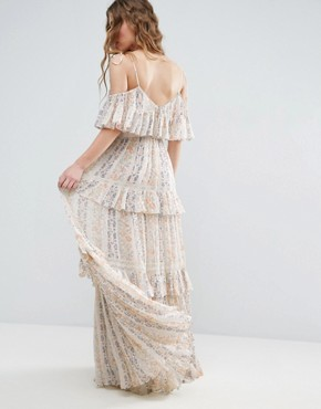 photo Floral Pleated Printed Maxi Dress by Needle & Thread, color Rose Beige - Image 2