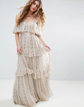 photo Floral Pleated Printed Maxi Dress by Needle & Thread, color Rose Beige - Image 1