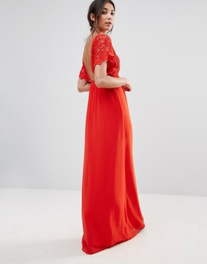 photo Lace Capped Sleeve Maxi Dress by Traffic People, color Red - Image 2