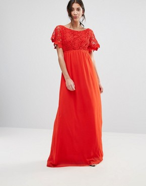 photo Lace Capped Sleeve Maxi Dress by Traffic People, color Red - Image 1