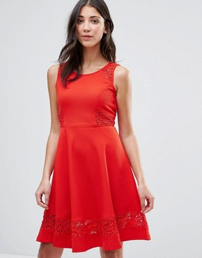 photo Skater Dress with Lace Insert by Traffic People, color Red - Image 1