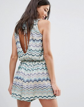 photo Swirl Print Dress with Tie Back by Traffic People, color Blue - Image 1