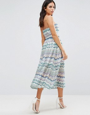 photo Squiggle Print Bandeau Dress by Traffic People, color Blue - Image 2