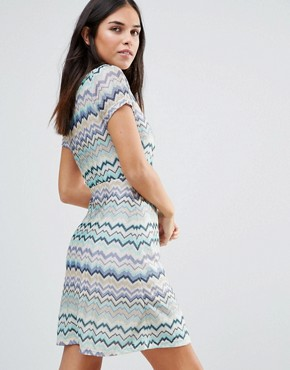 photo Striped Short Sleeve Midi Dress by Traffic People, color Blue - Image 2