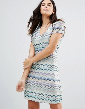 photo Striped Short Sleeve Midi Dress by Traffic People, color Blue - Image 1