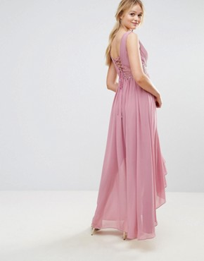 photo Maxi Dress with Embroidered Bodice and Hi Lo Hem by Y.A.S, color Purple - Image 2