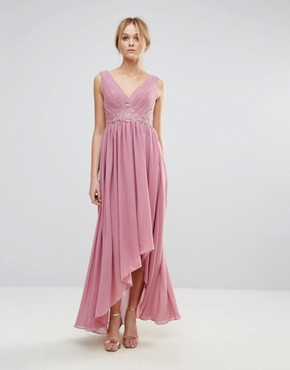 photo Maxi Dress with Embroidered Bodice and Hi Lo Hem by Y.A.S, color Purple - Image 1