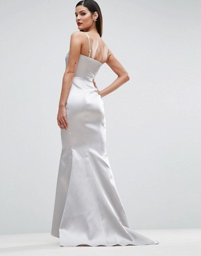 photo Satin Bandeau Paneled Maxi Dress by ASOS RED CARPET, color Silver - Image 2
