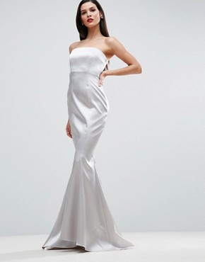 photo Satin Bandeau Paneled Maxi Dress by ASOS RED CARPET, color Silver - Image 1
