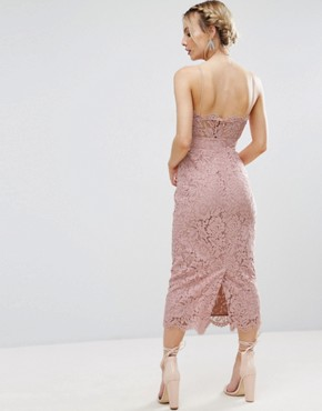 photo Lace Cami Bow Front Midi Pencil Dress by ASOS PETITE, color Nude - Image 2