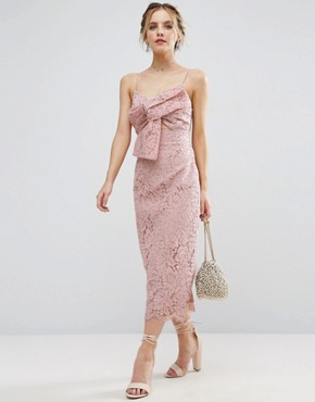 photo Lace Cami Bow Front Midi Pencil Dress by ASOS PETITE, color Nude - Image 4