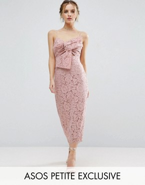photo Lace Cami Bow Front Midi Pencil Dress by ASOS PETITE, color Nude - Image 1