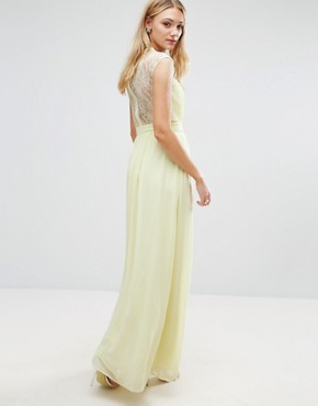 photo Scallop Lace Top Pleated Maxi Dress by Little Mistress Tall, color Lemon - Image 2