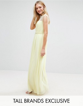 photo Scallop Lace Top Pleated Maxi Dress by Little Mistress Tall, color Lemon - Image 1